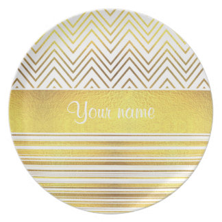 Faux Gold Foil Chevrons and Stripes Plate