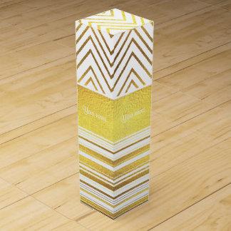 Faux Gold Foil Chevrons and Stripes Wine Bottle Boxes