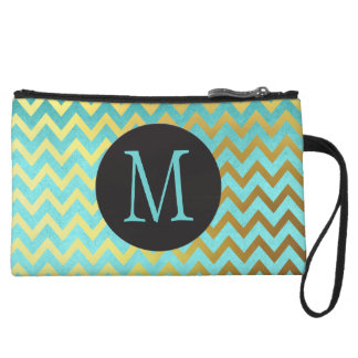 Faux Gold Foil Chevrons on Turquoise, Monogrammed Wristlet Purse