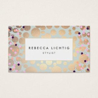 Faux Gold Foil Circles Confetti Beauty Salon Business Card