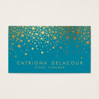 Faux Gold Foil Confetti Business Card   Teal II