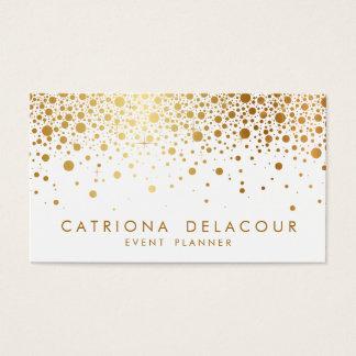 Faux Gold Foil Confetti Business Card | White
