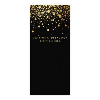 Faux Gold Foil Confetti Business Rack Card   Black