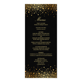 Faux Gold Foil Confetti Dots Black Wedding Menu Card