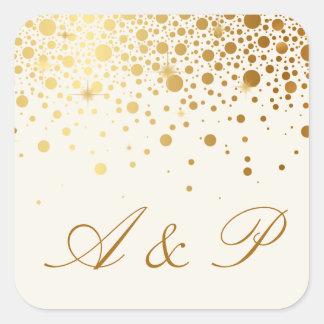 Faux Gold Foil Confetti Dots | Ivory Monogram Square Sticker