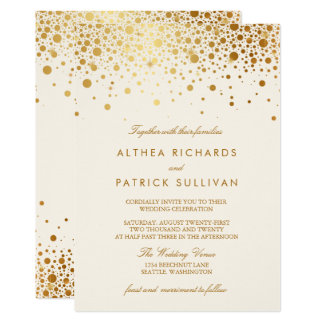 Faux Gold Foil Confetti Dots | Ivory Wedding Card