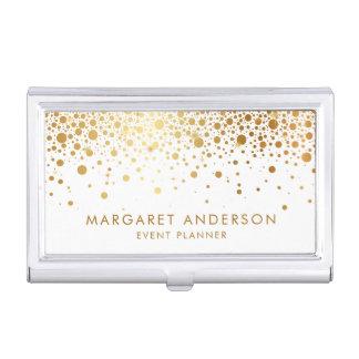 Faux Gold Foil Confetti Dots Modern Business Card Holder
