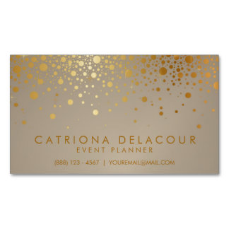 Faux Gold Foil Confetti Dots Modern Magnetic Business Card