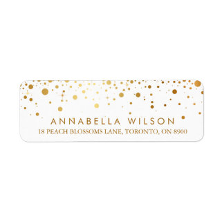 Faux Gold Foil Confetti Dots Modern Return Address Label