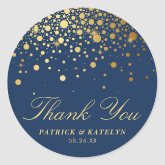 Faux Gold Foil Confetti Dots Thank You | Navy Blue Classic Round Sticker