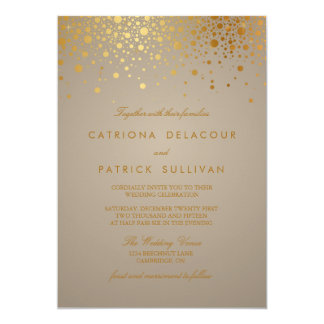 Faux Gold Foil Confetti Dots Wedding Invitation