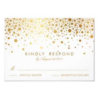 "Faux Gold Foil Confetti Dots Wedding RSVP Card 3.5"" X 5"" Invitation Card"