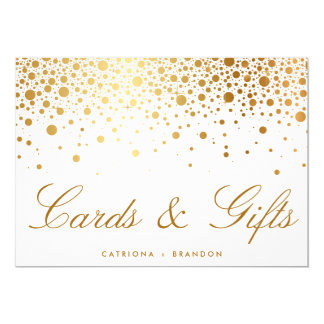 Faux Gold Foil Confetti Elegant Cards & Gifts Sign