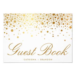 Faux Gold Foil Confetti Elegant Guest Book Sign Card