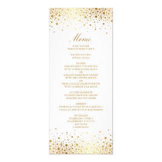 "Faux Gold Foil Confetti Elegant Menu Card 4"" X 9.25"" Invitation Card"