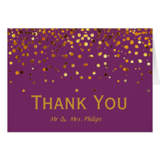 Faux Gold Foil Confetti Elegant Sparkles Thank You Card