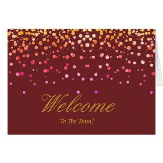Faux Gold Foil Confetti Elegant Sparkles Welcome Card
