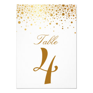 Faux Gold Foil Confetti Elegant Table Number Card