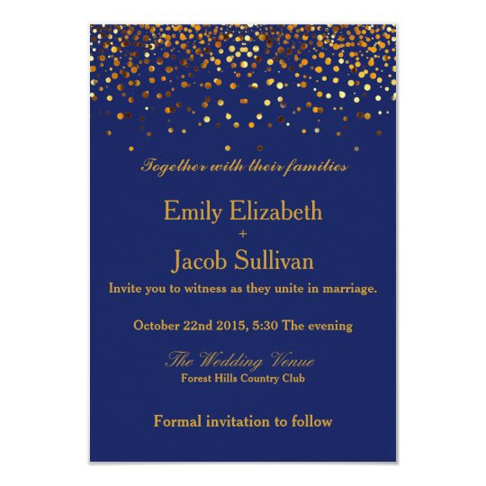 Faux Gold Foil Confetti Elegant Wedding Card