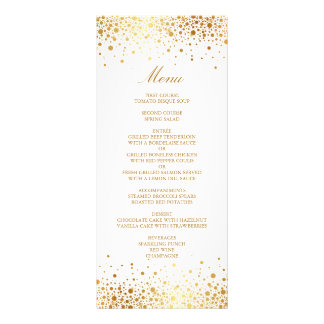 Faux Gold Foil Confetti Elegant Wedding Menu Card