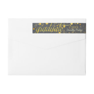 Faux Gold Foil Confetti Graduation Wrap Around Label