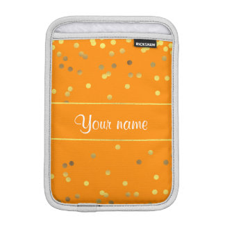 Faux Gold Foil Confetti Orange iPad Mini Sleeve