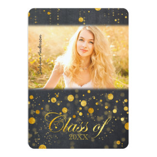 Faux Gold Foil Confetti Photo Graduation Card
