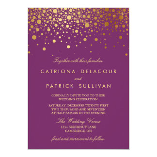 Faux Gold Foil Confetti Purple Wedding Invitation