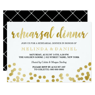 Faux Gold Foil Confetti | Rehearsal Dinner Card