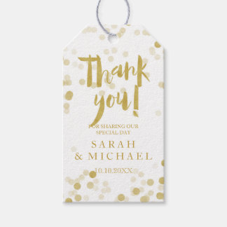 Faux Gold Foil Confetti Thank You Pack Of Gift Tags