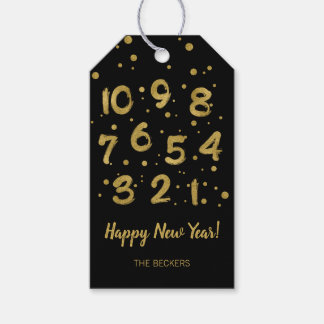 Faux Gold Foil Countdown Happy New Year Gift Tags