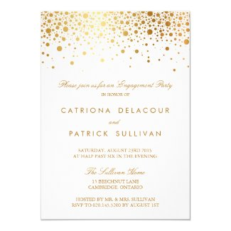 Faux Gold Foil Elegant Engagement Party Invitation