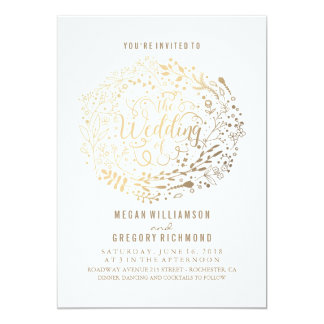 Floral wedding invitations announcements zazzle canada for Gold foil wedding invitations canada