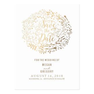 faux gold foil floral bouquet wreath save the date postcard
