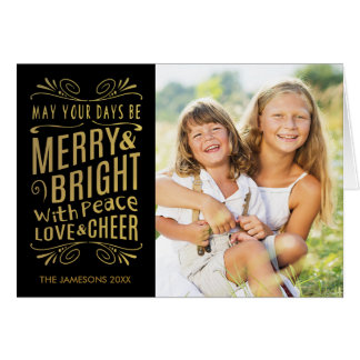 Faux Gold Foil Folded Photo Holiday Card