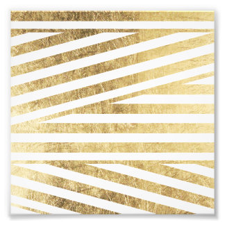 Faux gold foil geometric stripes pattern custom photo print