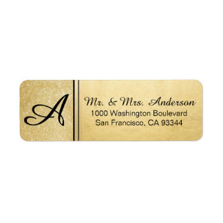 Faux Gold Foil Glitter Monogram Return Address
