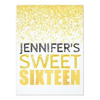 Faux Gold Foil Glitter Sweet 16 Invitation Card