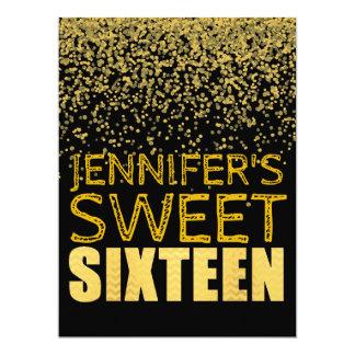 Faux Gold Foil Glitter Sweet 16 Invitation Card BL