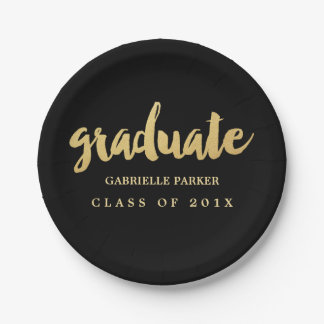 Faux Gold Foil Graduation Party Plates