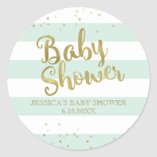 Faux Gold Foil Green Stripes Baby Shower Favor Round Sticker