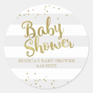 Faux Gold Foil Grey Stripes Baby Shower Favour Round Sticker
