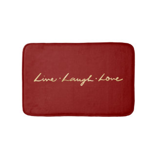 Faux Gold Foil Hand Lettered Live Laugh Love Bath Mat