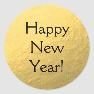 Faux Gold Foil Happy New Year Glossy Sticker