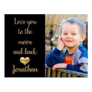 Faux gold foil heart | Love you to the moon Postcard