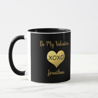 Faux gold foil heart xoxo photo mug