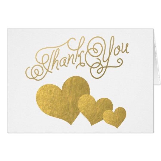 Faux Gold Foil Hearts Elegant Script Thank You Card