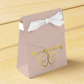 Faux Gold Foil Hearts Hashtag Married Bridal Blush Favor Box