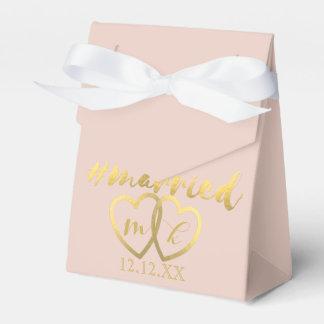 Faux Gold Foil Hearts Hashtag Married Bridal Blush Wedding Favor Box