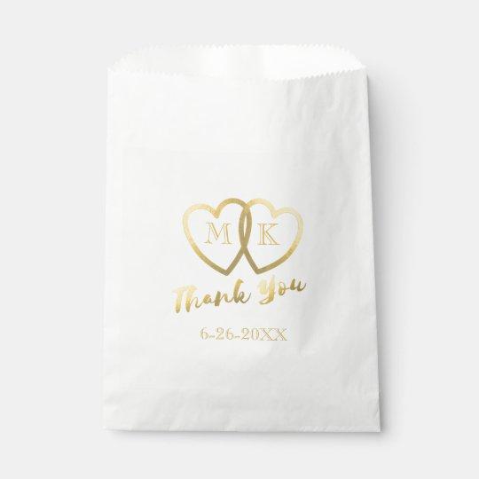 Faux Gold Foil Hearts Thank You Wedding Favour Bag
